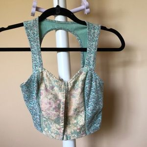 Beautiful Floral Crop Top with Keyhole Back